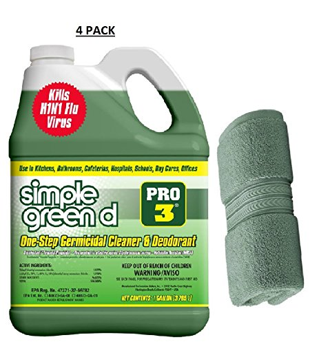 Simple Green Pro 3, 128 oz. Herbal-Pine Professional Grade Disinfectant (Case of 4) with 1 Hand (Simple Green Disinfectant)
