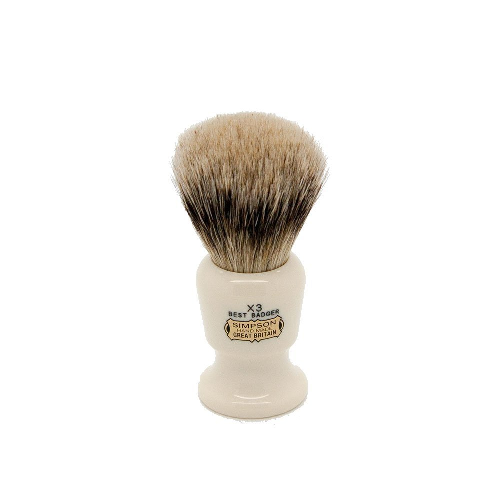 Simpsons Commodore X3 Best Badger Hair Shaving Brush Large - Imitation Ivory by Simpson Shaving Brushes