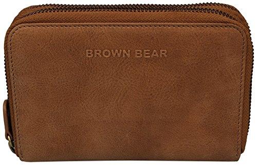 Brown Bear Geldbörse Damen Leder vintage Reißverschluss Sandra w