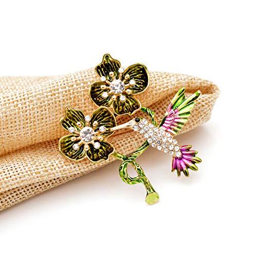 JINDUOQ Brooches for Women Enamel Green Flower Pins Autumn Design Coat Accessories Jewelry Goiod Gift