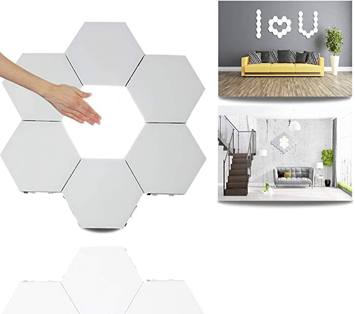 Modular Touch Light,Creative Smart Touch LED Light Panel Removable Hexagonal Wall Lamp DIY Geometry Splicing Hex Light Honeycomb Hallway Night Light for Home Office Hotel Bar Festive Gift,6 Pack