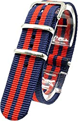 [2PiS] Nato Nylon ( Navy / Red : 20mm ) Interchangeable Replacement Watch Strap Band 81-1-20