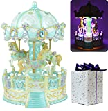 ACCOCO Large Carousel Music Box Luxury Color Change LED Light Luminous Rotating 3-horse Merry-Go-Round Music Box,Two Melody Carrying You from Castle in the Sky and Swan Lank (Blue)