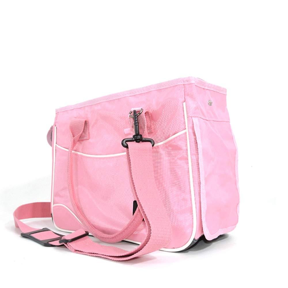 Pink MediumXINGZHE Pet travel bag, pet out carrying bag, portable dog bag cat bag, travel pet supplies, foldable, one shoulder, full size breathable comfort handbag Pet bag (color   Pink, Size   M)