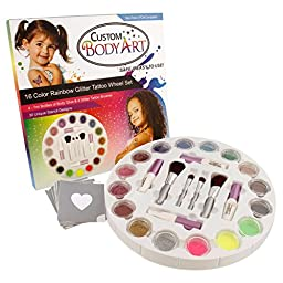 Glitter Tattoo Set by Custom Body Art 16 Color Glitter Wheel Body Art Set with 16 Large Glitter Colors, 30 Uniquely Themed Temporary Tattoo Stencils, 4 Glue Applicator Bottles, 4 Glitter Brushes - The Perfect Kit for Fashionable Party Fun for Children, Te