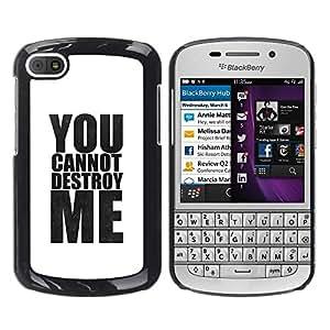 YiPhone /// Prima de resorte delgada de la cubierta del caso de Shell Armor - Powerful White Minimalist Text - BlackBerry Q10