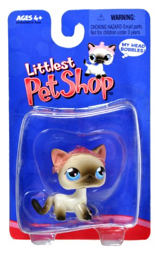 Hasbro Year 2004 Littlest Pet Shop Single Pack Series Bobble Head Pet Figure - Grey Siamese Cat with Tiara (#50464) (Head Single Bobble)
