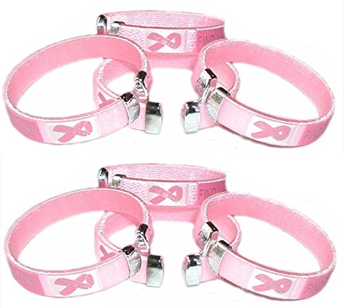 Pack Of 8 Pink Ribbon Bangle Wrist Bracelets - Breast Cancer Awareness / Fundraisers / Party Favors
