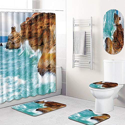 Beach Coast Picture Shower Curtain Mat Set of 5 (Rugs Curtains And Matching)