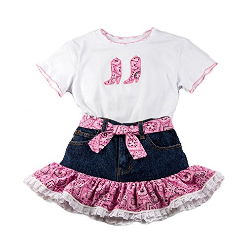 KIDDIE KORRAL 2 PIECE DENIM SKIRT AND TEE, Pink, 5 ()