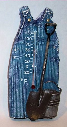 """ABC Products"" - {Final Close-Out} ~ Outdoor or Indoor - Thermometer - Farmer's Overalls Design - Wall Hanging -Old Country Vintage Design (Blue Finish - Accented With Shovel and Bucket)m"