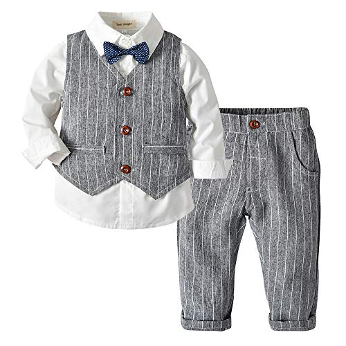 Tem Doger Baby Boys Plaid Button Down Casual Dress Shirt Slim Fit +Vest+Pant Outfits (80/6-12 Months, Grey)