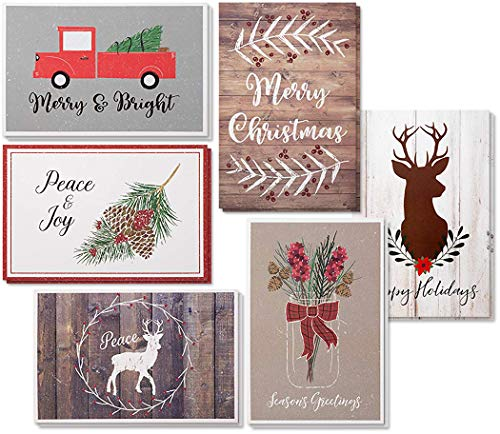 - 48-Pack Merry Christmas Holiday Greeting Card - Rustic Happy Holidays Xmas Cards in 6 Designs, Bulk Assorted Festive Winter Holiday Cards with Kraft Envelopes, 4 x 6 Inches