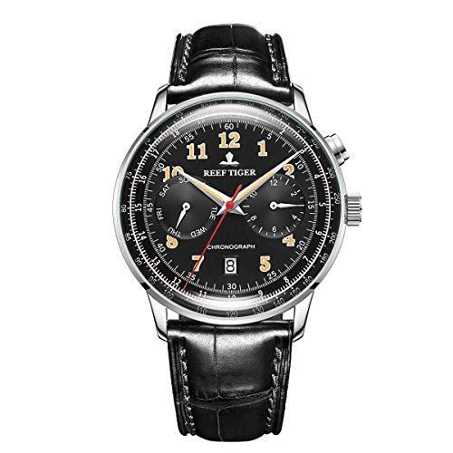 Reef Tiger Vintage Watch Men Stainless Steel Automatic Luminous Miyota Watch Leather Strap RGA9122