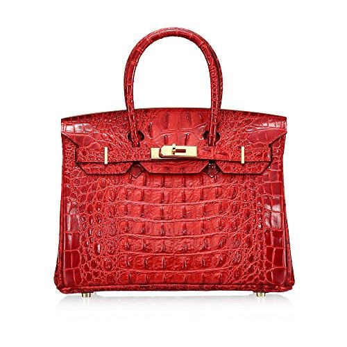 Mujer Bolso Bolsa De Asa Superior Piel Genuina Diseño Elegante Mochila Al Aire Libre - 3 Colores Para Dama (Color : Rojo) Rojo
