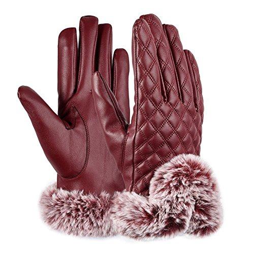 MOOSE スマホ 手袋 レディース レザー グローブ 革 裏起毛 防寒 保温 ファー付 タッチパネル 女性用(レッド)