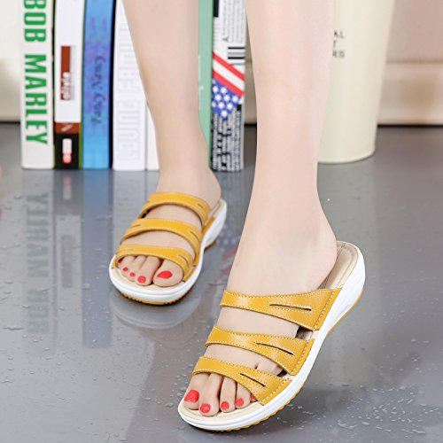 Diapositivas Mujer Punta Plataforma Yellow Plataforma Zapatillas De De Tacón De Sandalias Para Sandalias Abierta Cuñas Medio Zapatos De qHYzxn