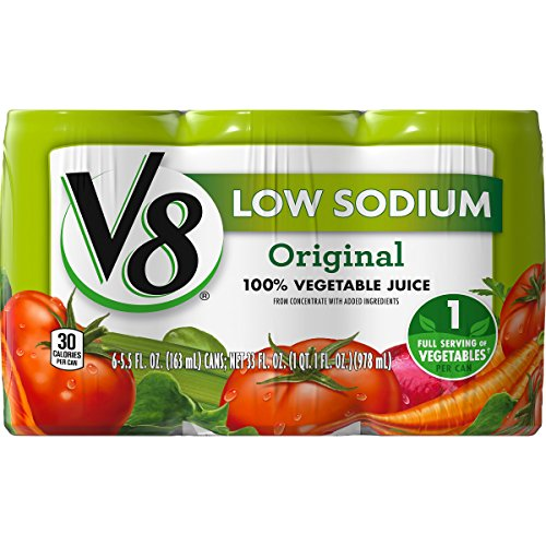 V8 Original Low Sodium 100% Vegetable Juice, 5.5 oz. Can, 6 Count ()