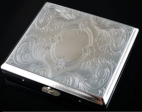 New Etched Metal Cigarette Case Box Holder Holds 20 Cigarettes Silver(SM132)