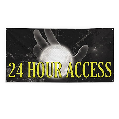 Grommets Access (24 Hour Access Outdoor Fence Sign Vinyl Windproof Mesh Banner With Grommets - 5ftx12ft, 12 Grommets)