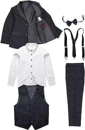 6 Piezas Niños Traje Negro Niños Cumpleaños Graduación Esmoquin Formal Blazer Camisa Trajes de Fiesta de Boda