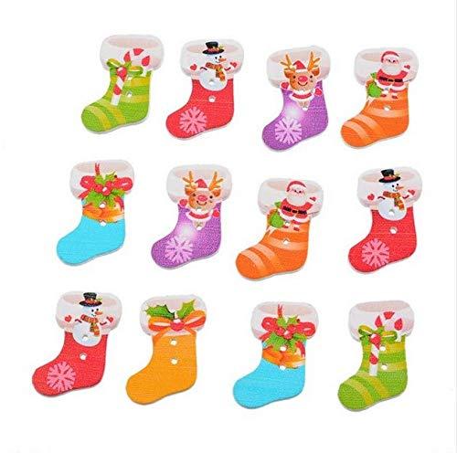 50 unds ideales botones madera de Navidad botas de Papa Noel ...
