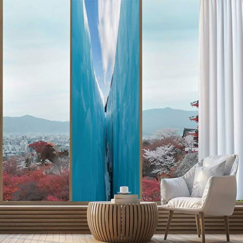Non Adhesive Paper Cubes - YOLIYANA Privacy Window Film Decorative,Nature Decor,for Glass Non-Adhesive,Frozen Ice Mountains in North South Polar Cubes,24''x78''