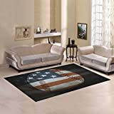 Love Nature Sweet Home Modern Collection Custom Baseball with United States flag Area Rug 7'x5' Indoor Soft Carpet