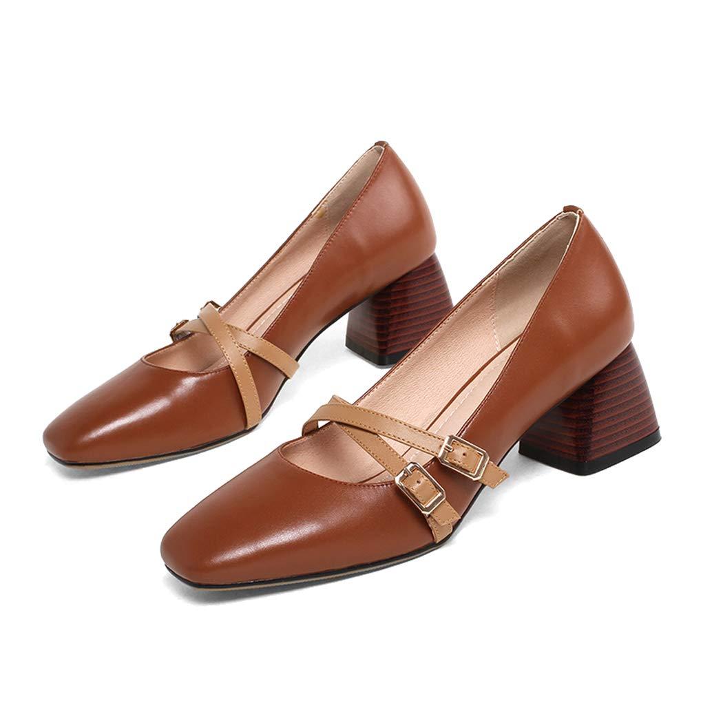 Braun ZYNENSquare Kopfschuhe Damen einfache vielseitige Oma Schuhe mit flachem Mund Mary Jane Schuhe Quadratischer Kopf mit Retro Lazy Schuhe Set Fuß Casual Schuhe