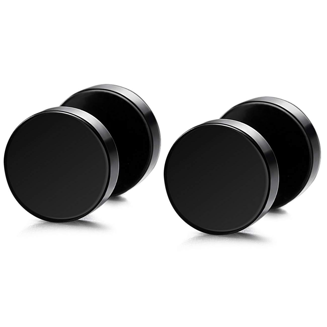 MOWOM Silver Gold Two Tone Black Stainless Steel Stud Earrings Tapers Plugs Tunnel Double Side ca5060031