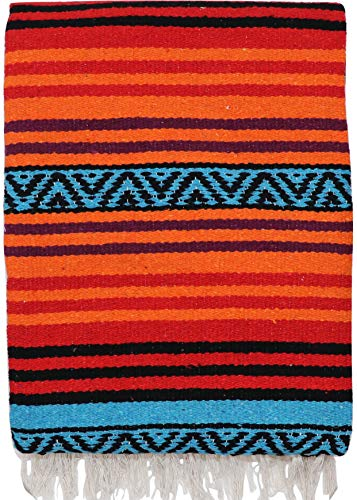 (El Paso Designs Peyote Hippie Blanket Classic Mexican Style Falsa Stripe Pattern in Vivid Peyote Colors. Throw, Bed, Tapestry, or Yoga Blanket. Hand Woven Acrylic, 57