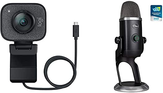 Logitech StreamCam, 1080P HD 60fps Streaming Webcam with USB-C and Built-in Microphone, Graphite with Blue Yeti X Professional Condenser USB Microphone
