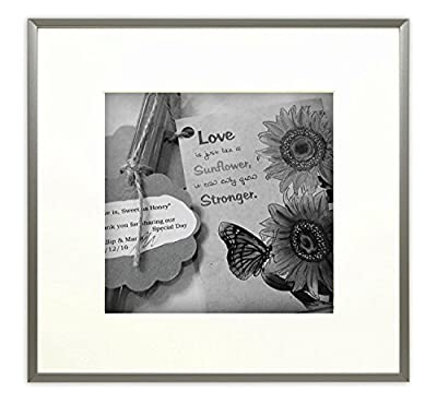 Frametory, Metal Picture Frame Collection, Aluminum Silver Photo Frame with Ivory Color Mat for Picture & Real Glass