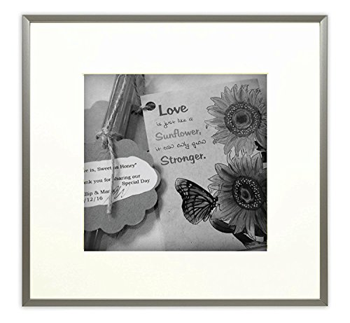 Frametory,12x12-inch Square Photo Frames - Aluminum Silver Picture Frame with Photo Mat & Real Glass for 8x8-inch Pictures