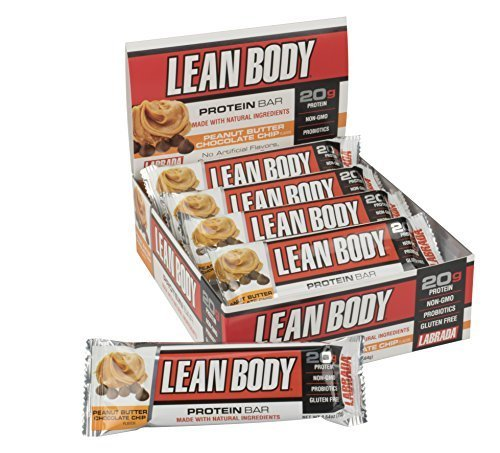 LABRADA NUTRITION Lean Body Protein Bars with Probiotics, Gluten Free All Natural Protein Bar Made with Natural Ingredients, Peanut Butter Chocolate Chip, 12 Count by Labrada