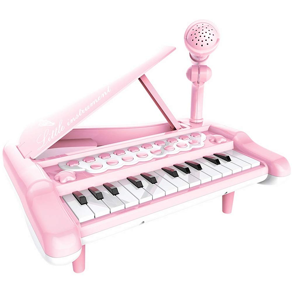comprar mejor YYWJ Piano de Juguete Teclado para niños de 25 25 25 Teclas Juguete de Piano Multifuncional Teléfono de conexión de Instrumento Musical con micrófono Iluminar Historia Piano de Tres Patas  envío gratis