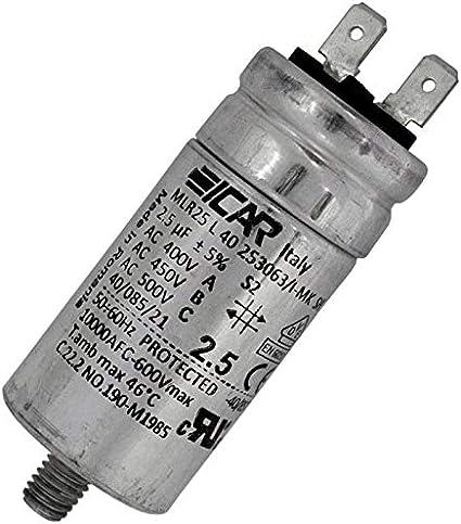 Anlaufkondensator Motorkondensator 2 5µf 450v 30x63mm Stecker 6 3x0 8mm Icar 2 5uf Beleuchtung