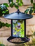 #9: CEDAR HOME Hanging Solar Bird Feeder Outdoor Garden Decorative Water Proof Glass Pet BirdFeeder with Eave, Butterflies Kaleidoscope