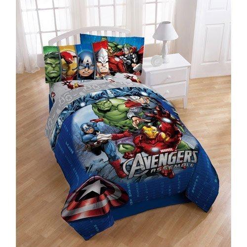 5pc Marvel Comics Avengers Full Bedding Set Superhero Halo Comforter and Sheet Set