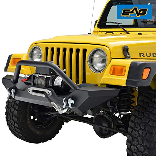 EAG Front Bumper with D-Ring and Winch Plate Black Textured Fit for 87-06 Jeep Wrangler TJ YJ ()