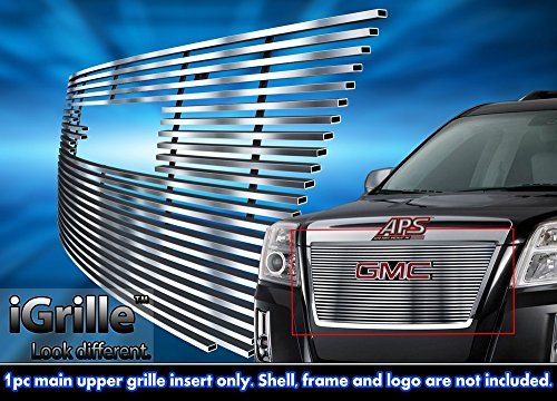 Stainless Steel Chrome Grille - Stainless Steel eGrille Billet Grille Grill For 2010-2014 GMC Terrain Insert With Logo Show