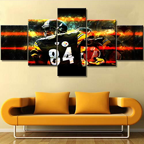 (Native American Decor Pittsburgh Steelers Paintings NFL Pictures Antonio Tavaris Brown Sr. Wall Art 5 Piece Canvas Modern Artwork Giclee Home Decor for Living Room Framed Ready to Hang (50''Wx24''H))