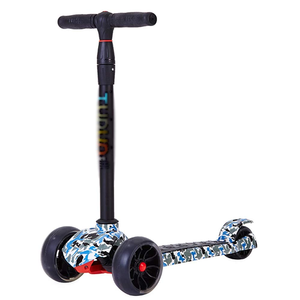 LJHBC キックスクーター 3輪スクーター 子供に適して 6歳以上 少年少女 点滅しているLEDホイール 取り外し可能 高さ調節可能 (色 : 青) 青
