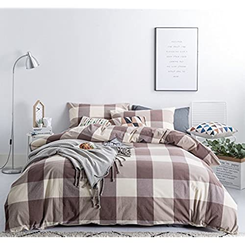 Beautiful ... Cotton Queen Size 1 Duvet Cover 2 Pillowcases Luxury Soft Breathable  Comfortable Lightweight Durable Khaki Checkered Plaid Bedding With Zipper  Ties