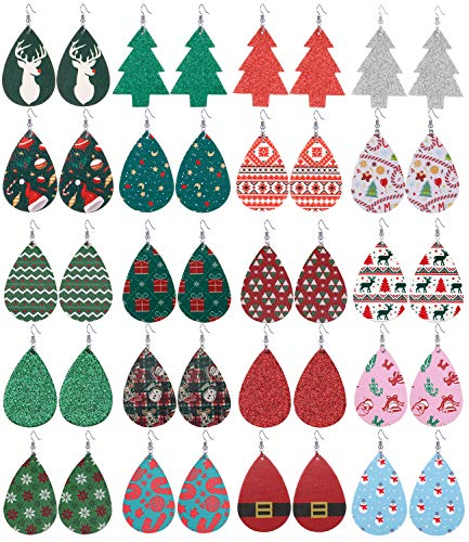 VALIJINA 20 Pairs Christmas Leather Earrings Lightweight Faux Leather Teardrop Dangle Earrings Set Xmas Petal Leather Earrings C