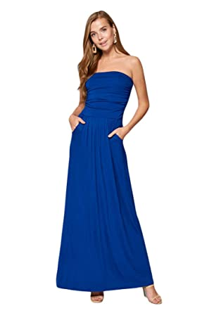 2b757196fb54 Vanilla Bay Women's Strapless Full Length Maxi Dress with Pockets at ...