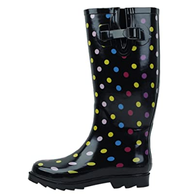 SBC Women's Rain Boots Adjustable Buckle Fashion Mid Calf Wellies Rubber Knee High Snow Multiple Styles | Boots