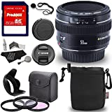 Canon EF 50mm f/1.4 USM Standard & Medium Telephoto Lens + 58mm 3 Piece Filter Kit Set (UV, CPL, FLD) + Ritz Gear Protective Pouch + Lens Cap Strap + 8GB Memory and Deluxe Polaroid Accessory Bundle