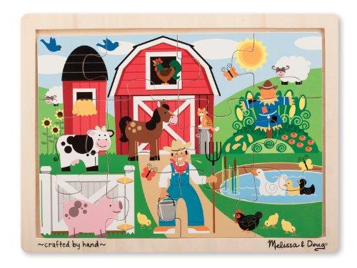 Melissa & Doug Farm Wooden Jigsaw Puzzle With Storage Tray (12 pcs)