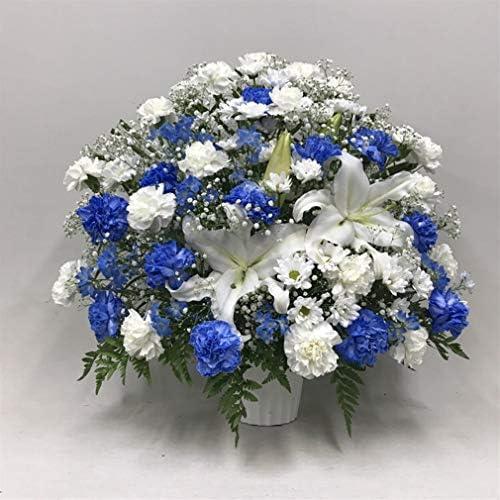 【供花】ユリ入りカーネーションとカスミソウのアレンジWB(H63) 奥行:約45cm×幅:約63cm×高さ:約63cm